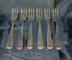 Antique silver cake forks - 6 pieces-Wellner-Germany