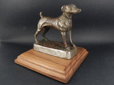 Original Vintage Auto Car Mascot Dog Mascot Measures 9 cm in height and 9 cm in length 4 cm in width and 10 cm x 10 cm Base