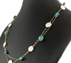 18 kt yellow gold – Choker – Pearls – Turquoises – Length 54 cm