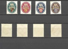 Germany 1926-29: small collection of complete sets - Michel 398-401, 407-409, 430-434 / Scott B15-B18, 363-365, B28-B32