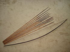 Bow and 11 arrows - West-Papua