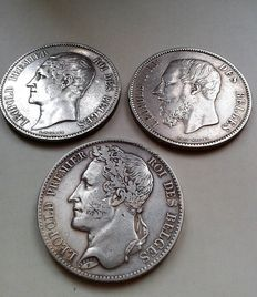 Belgium – 5 francs from 1849 (Leopold I) and 1870 (Leopold II) – 3 coins – Silver