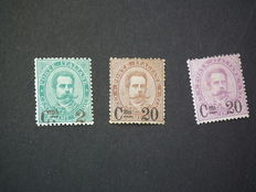 "Italy, Kingdom, 1890-91—3 stamps with overprints—""Sassone"" No. 56/58"