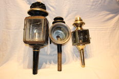 Three lovely antique carriage lamps, cristal glass,ca.1940
