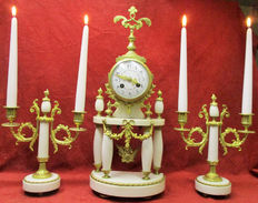 Three-part Louis XVI - clock set - France, end of 1800 (40)