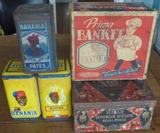 5 old tins: 3 x BANANIA + 2 shop tins for Verkade + Prima - from the 40s/70s