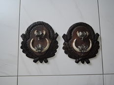 Matching pair of Wild Boar tusk sets, on carved Black Forest-type shields - Sus scrofae - 22 x 24cm - 1.5kg (2)