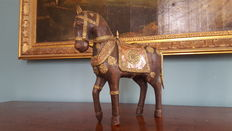 Beautiful  Wood -  Brass - Copper Horse