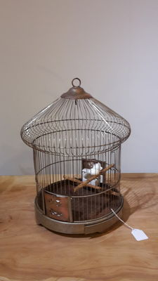 Bird cage with brass and copper