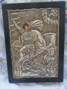 St George Greek icon- silver Tradition Art - 950 degrees - see certificate - Greece