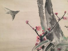 """Beautiful detailed hand-painted scroll painting, depicting a """"bird in a landscape scenery"""" – Japan – late 19th / early 20th century"""