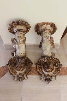 A pair of lacquered wood candle holders - Italy - early 19th C