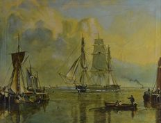 Percival A Bates (20th century) - Shipping at the entrance of humber dock,  after John Ward, 1798-1849
