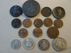 United Kingdom - Farthing up to and including Florin 1737/1946 (16 pieces) including silver