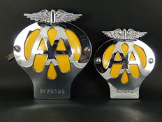 2 AA Auto Car Badges Standard Version  1966-67 and AA Small Motorcycle Badge late 1950's