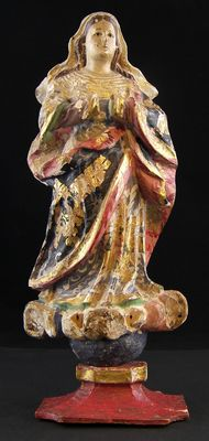Ancient polychrome wooden sculpture of the Immaculate Conception - Neapolitan School - 17th C