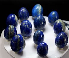Hand-made and polished Lapis Lazuli Eggs - 32 to 40mm - 400gm  (12)