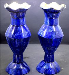Exclusive Hand Crafted stunning genuine Royal Blue Lapis Lazuli Gemstone Vases Pair - 1185 gram , 20 cm