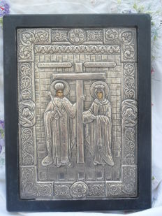 Constantine the Great + Saint Helena- Byzantin icon- silver Tradition Art - 950 degrees - see certificate - Greece