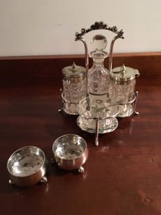 Antique Silver Plate and Cut Glass Condiment Set with a Pair of Salts