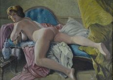 Percival A Bates. (20th century) - . A naked woman on a chaise longue