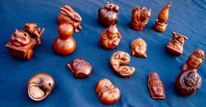 16 signed netsuke in boxwood - China - second half of 20th century.