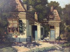 After H. Veenendaal (20th century) - farmhouse, farmyard with chickens