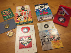 Disney, Walt - 7 Silver and Gold Assay Collectible Coins + Pen (1978/1990)