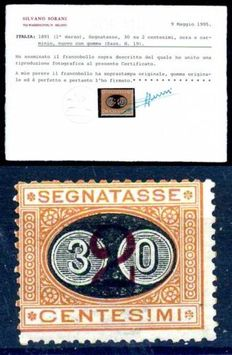 Kingdom of Italy – 1891 – Postage due 30 on 2 cent., ochre – Sassone no. 19