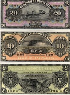 Costa Rica - 5, 10 and 20 pesos - 1899 - remainders - Pick S163r1, S164r and S165r