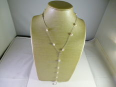Jewellery set - 18 kt white gold and pearls.