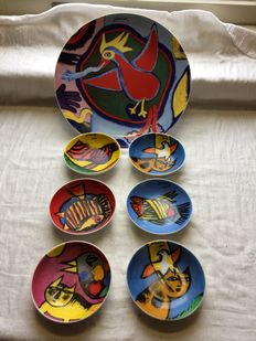 Corneille (1922-2010) - plate and 6 bowls