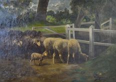 Hyacinthe Florentin Lepesqueur (19th century) - Sheep and lambs in a field