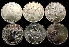 Portugal – 6 silver 1000 Escudos coins, years: 1996, 1998, 1999, 2000(2) y 2001 – All are different