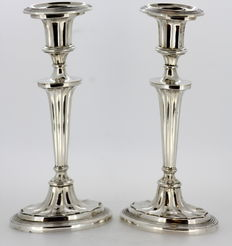 Pair of silver candlesticks, Italy, 1940's