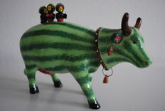 Kate Royal - Cow Parade - Watermelon Helen and crazy Crow Cousins - medium - ceramic and RETIRED