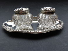 A few crystal vials with silver caps, England, Birmingham, 1863 with seperate later saucer