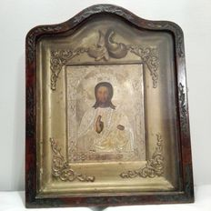 Icon of Christ Pantocrator with golden silver riza, in gilt wood frame with wooden board, Russia, 19th century