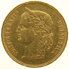 Zwitserland - 20 Francs 1894B  Crowned Head  - goud