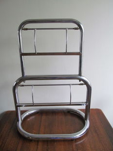 Old second-hand paper roll holder for 2 rolls, chrome