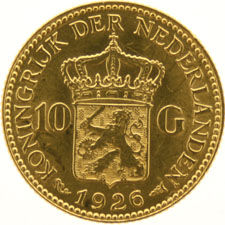 The Netherlands – 10 guilder coin, 1926, Wilhelmina, gold