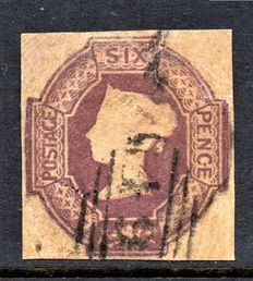 Great Britain Queen Victoria 1854 - 6d Mauve Embossed, Stanley Gibbons 58 Watermark Inverted