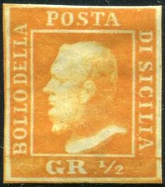 Sicily 1859 Ferdinand II -  1/2 Gr, orange