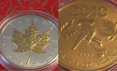 Canada - 2 x 5 Dollar -  Maple Leaf 2002 + Vancouver Whistler Olympic Games 2010 - 2 pieces 999 silver with 24 carat gold plating