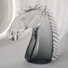 Glass horse head sculpture, clear and grey glass