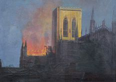 Unknown. (20th century). -  York Minster on fire in 1984.