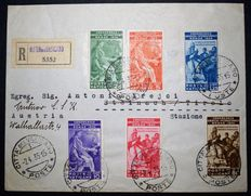 VATICAN – 1935 – International Judicial Conference – complete series on registered letter Signed by Diena – Sassone 41-46