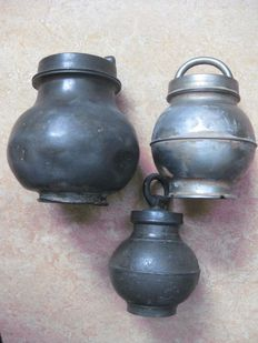 3 Lidded Tinned Broth or Stock-Pots