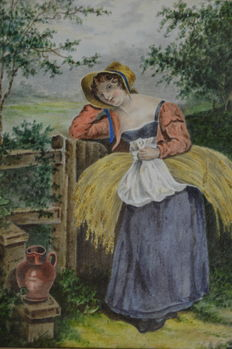 Unknown. (Early 19th century) - . A girl resting by a gate carrying a bundle of corn.