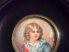 Signed  Isabey - Napoleon 'Franz' Bonaparte (Napoleon II) King of Rome - portrait miniature painted on ivory - early 19th century